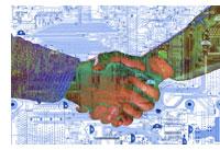 high-technology handshake