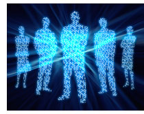 silhouettes of people with binary 0s and 1s inside