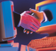 Contract Law: handshake emerging from computer screens